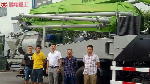 邹老板团队订购鹏翔33米搅拌天泵一台助力浏阳东乡城镇建设